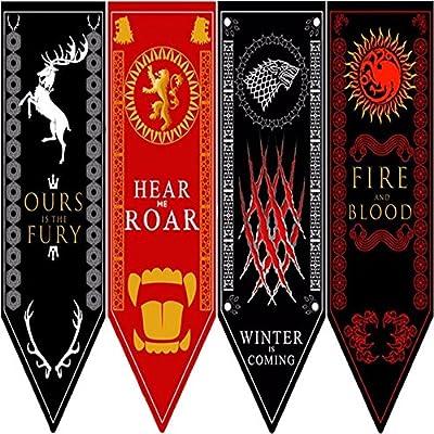 GOT Slogan Banners 4pc. Set - House Stark, Lannister, Targaryen, Baratheon