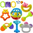 Wish key Colourful Plastic Non Toxic Set of 8 Teether and Rattle for New Borns and Infants