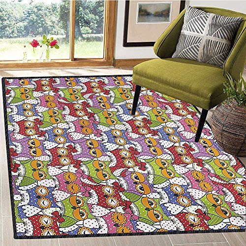 Owl, Anti Skid Rugs, Ornate Owl Crowd with Different Sights and Polka Dots Like Matryoshka Dolls Fun Retro Theme, Door Mats for Inside 5x7 Ft Multi by protectormax (Image #6)