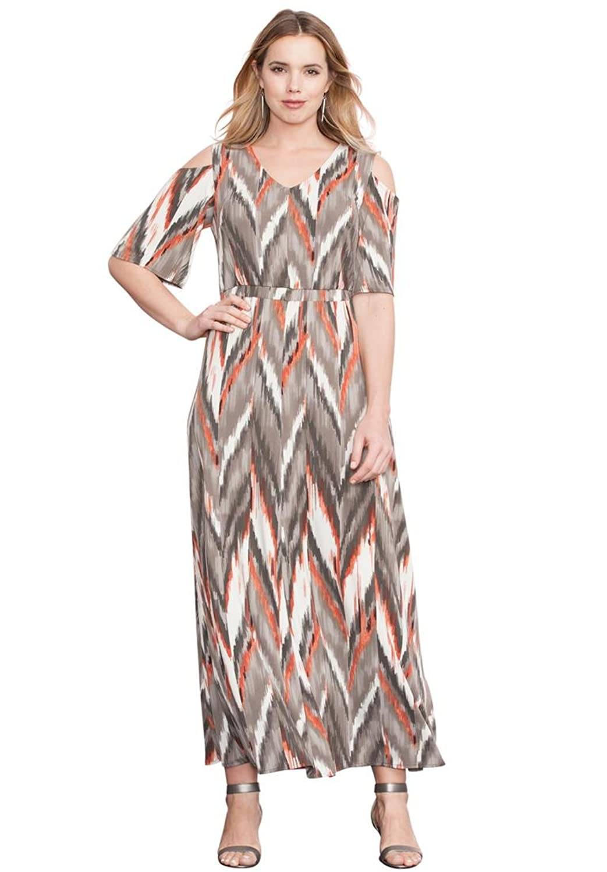 Roamans Women's Plus Size Cold Shoulder Dress