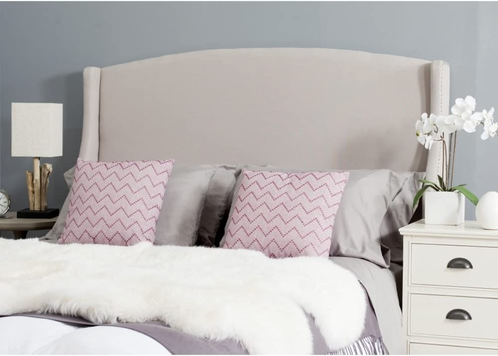 Safavieh Austin Taupe Linen Upholstered Wingback Headboard Queen