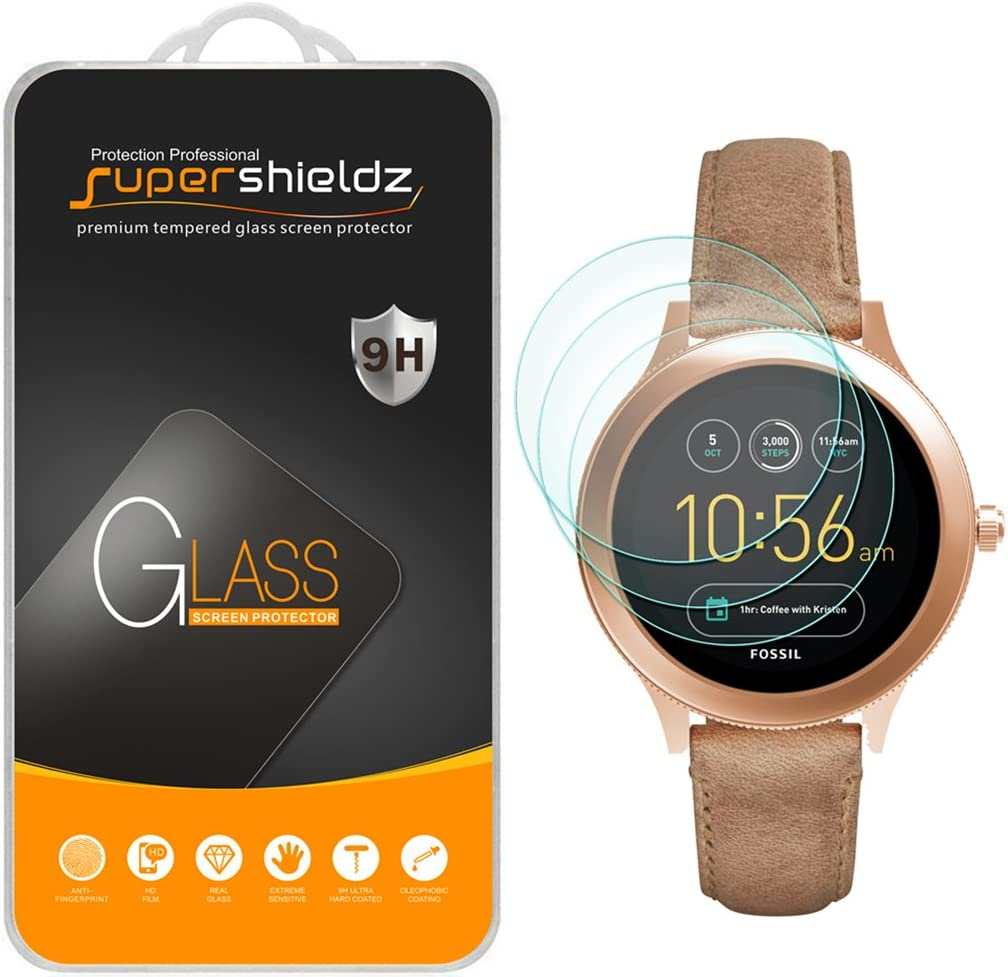 Anti Scratch Supershieldz for Fossil Q Venture Gen 3 Smartwatch Tempered Glass Screen Protector 3 Pack Bubble Free
