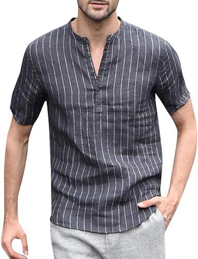 Mnyycxen Mens Button Down Shirts Long Sleeve Vertical Striped Casual Linen Banded Collar Regular Fit Shirt