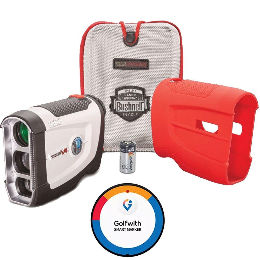 Bushnell Tour V4 Golf Laser Rangefinder + CR2 Battery + Golfwith Smart Marker GPS + Red Silicon Skin by Bushnell