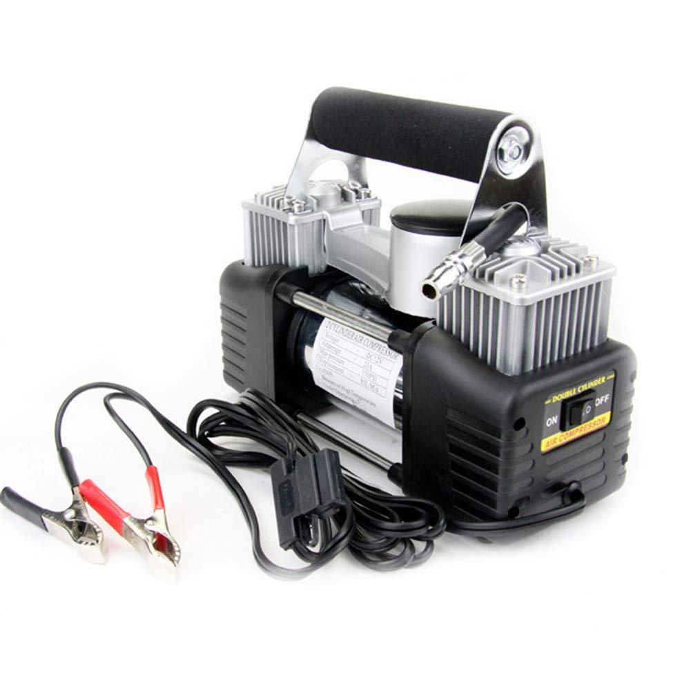 Compresso /à air avec Pince de Batterie et Tuyau de rallonge /à air 3M /à Double Cylindre WTY Pompe /à air de Voiture gonfleur 12 V Pompe en m/étal /à entra/înement Direct
