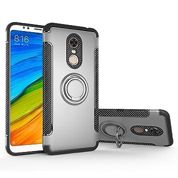 Funda Xiaomi Redmi 5 Plus, LAGUI Doble Capa Carcasa Con Anilla posterior, oporte de Montaje Magnético del Coche Cáscara Especial, plata