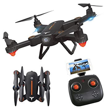 ESGOT F16 Foldable RC Drone with HD WiFi Camera and LED Lights Two on