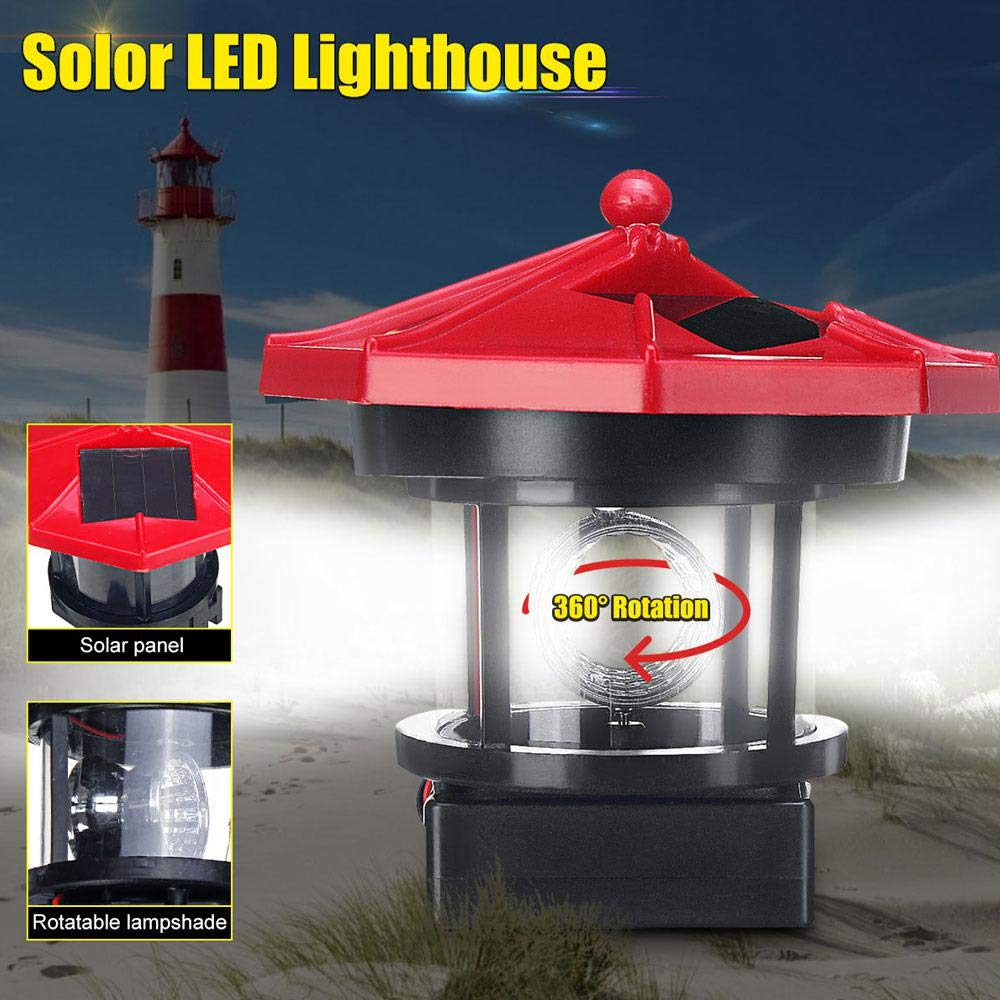 LED Rotating Lighthouse Outdoor Decor Waterproof Solar Stake Lights for Garden Patio Backyard Red FOONEE Solar Lighthouse