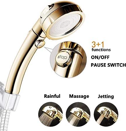 High-Pressure Handheld Shower Head Water-Saving ON//OFF Pause Switch Showerhead