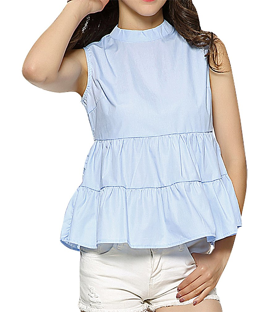 US&R Women's Cotton Polyester No Sleeve Stand Collar Buttoned Back Smock Top, 1- L ,Manufacturer(XL)
