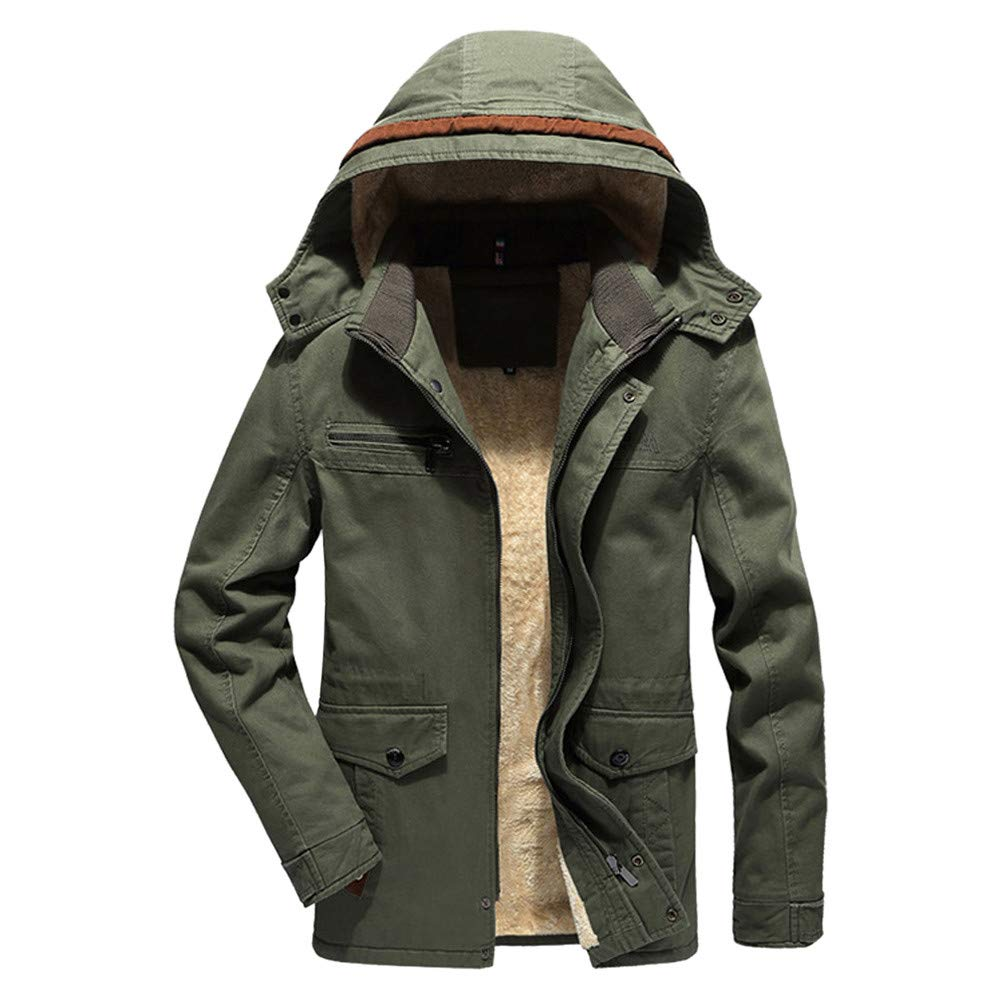 Men Winter Solid Blouse Thickening Hooded Coat Outwear Top Blouse Plus Size Mens Motorcycle Jacket Slim