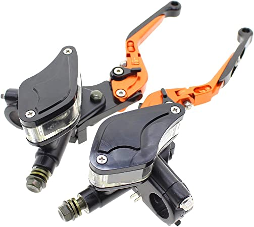 Fxcnc Racing 7 8 Billet Master Cylinder Reservoir Hydraulic Folding Extending Brake Clutch Levers Universal Fits 50cc To 400cc Street Motorcycle And Scooter Adjustable Auto