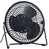 BTOOP 6 Inch USB Desk Fan Mini Personal Fan with Two Speed Quiet for Home and Office (Black, 6'')