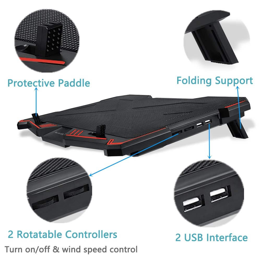 Laptop Cooling Pad BUJIAN 5 Ultra Quiet Fans and Red Led Lights with 13 Wind Speed (2600-5000RPM) and Ultra-Slim and Skid Proof Design for 12-15.6 Inch Laptop (S-X5) by BUJIAN (Image #4)