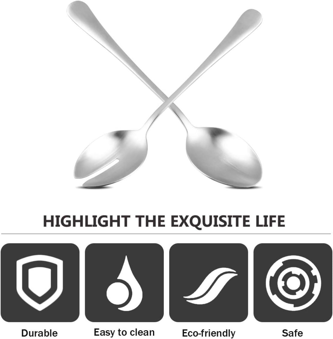 26 cm Salad Cutlery Fork and Spoon Metal Salad Serving Spoon and Fork Set Hemoton Salad Salad Servers,Stainless Steel