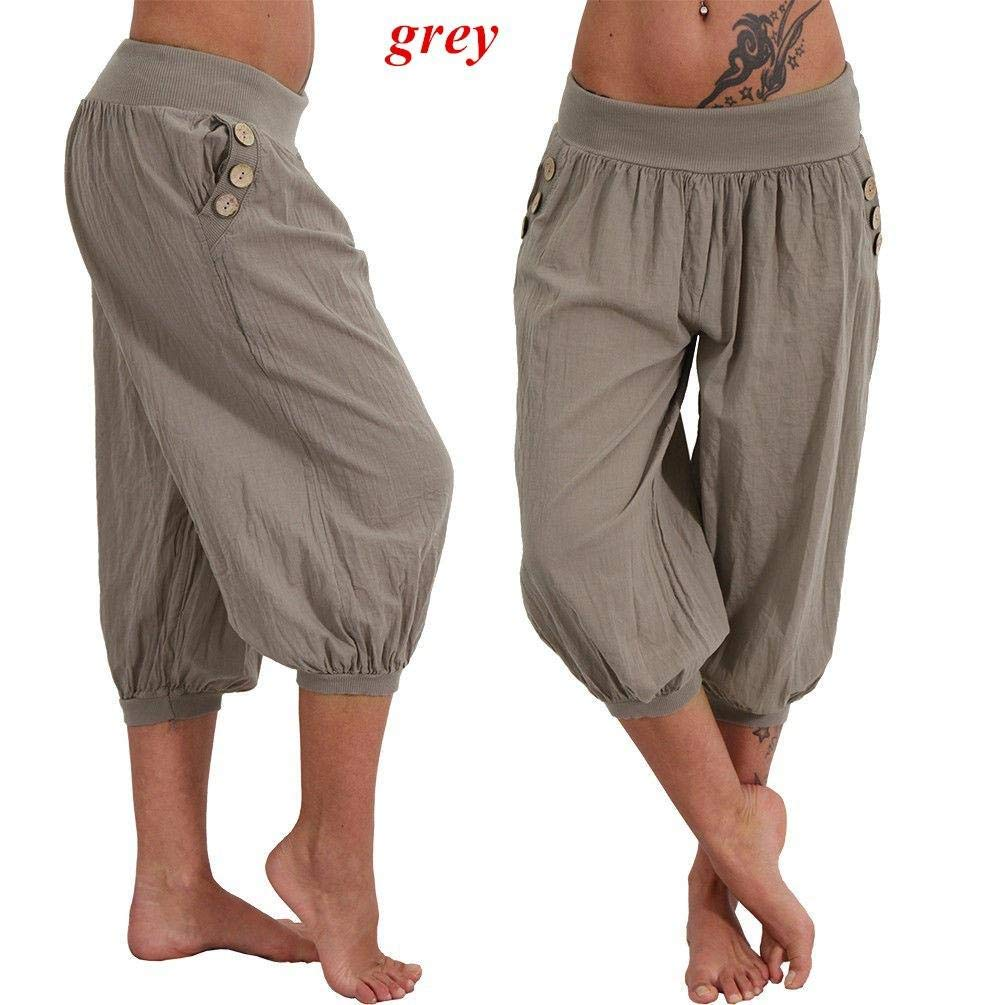 FAIYIWO Womens Fashion Plus Size Boyfriend Capri Pants Casual Chino Pants FAIYIWO Black 5XL Size