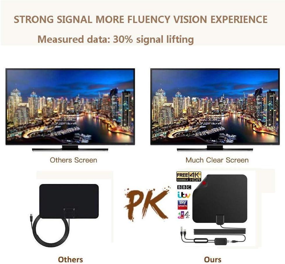 VHF//UHF//FM unterst/ützt 4 K 1080p und alle /älteren TV-Ger/äte mit 4 m Koaxialkabel von TNT-Antenne innen TV-Antenne 120 Meilen // 200 km Laufzeit Schwarz