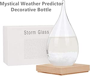 EQARD Storm Glass Weather Station Storm Glass Weather Predictor,Weather Predicting Storm Glass,Weather Forecast Glass Bottles with Wooden Base,Perfect for Home Decoration and Office Gifts (Small)
