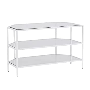 Amazon Com Furniture Hotspot Metal And Glass Corner Media Stand