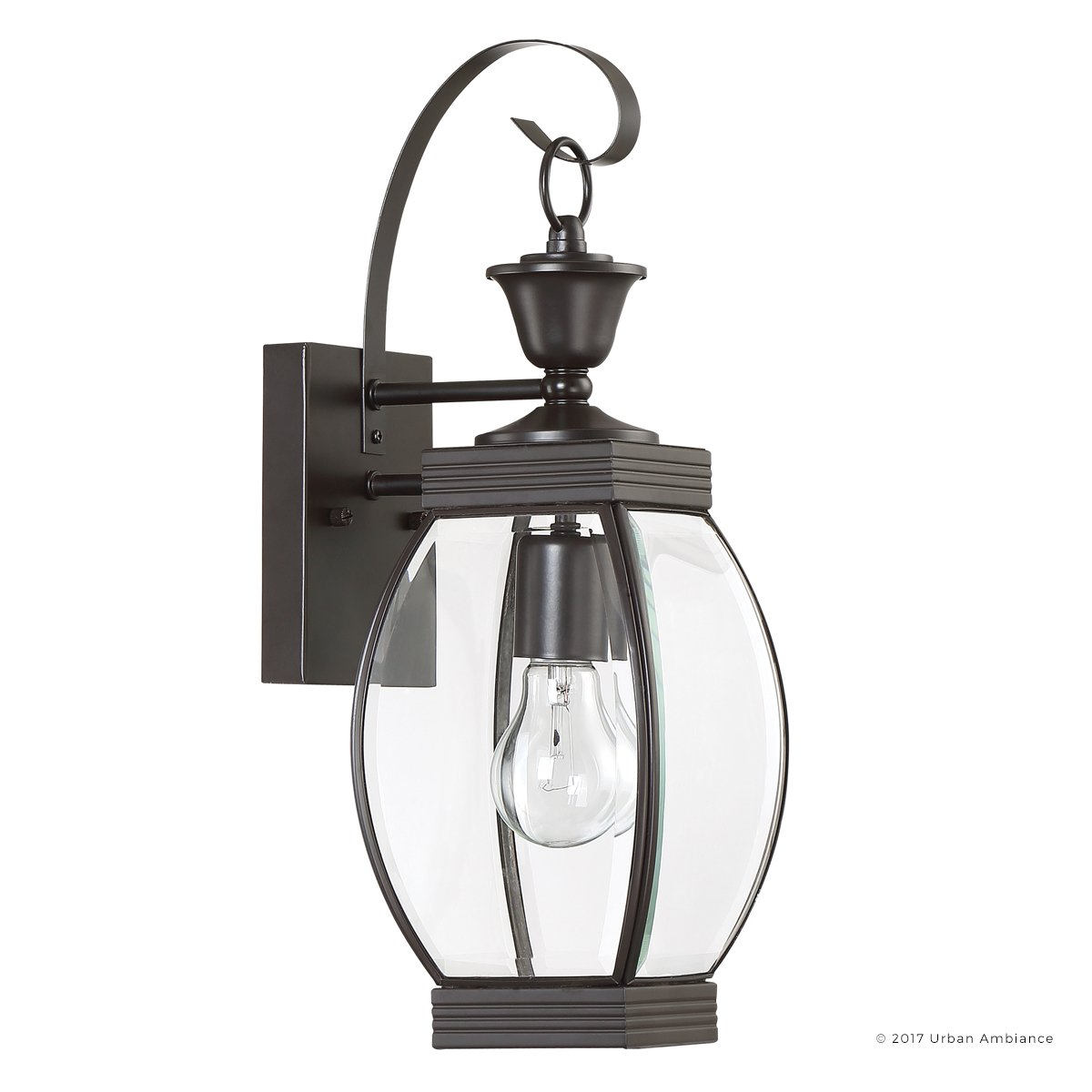 Luxury Colonial Outdoor Wall Light, Medium Size: 17''H x 5.5''W, with Transitional Style Elements, Bowed Design, Gorgeous Dark Medieval Bronze Finish and Beveled Glass, UQL1170 by Urban Ambiance