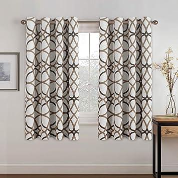 "40/""W x 84/""L Taupe Single 1 Cotton Rich Window Curtain Panel: Chevron Design"