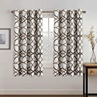Thermal Insulated Grommet Blackout Curtains for Bedroom 63 Length - Window Treatment Home Decor Curtains for Living Room Taupe and Brown Geo Pattern, Noise Reducing Curtain Drapes, 1 Pair