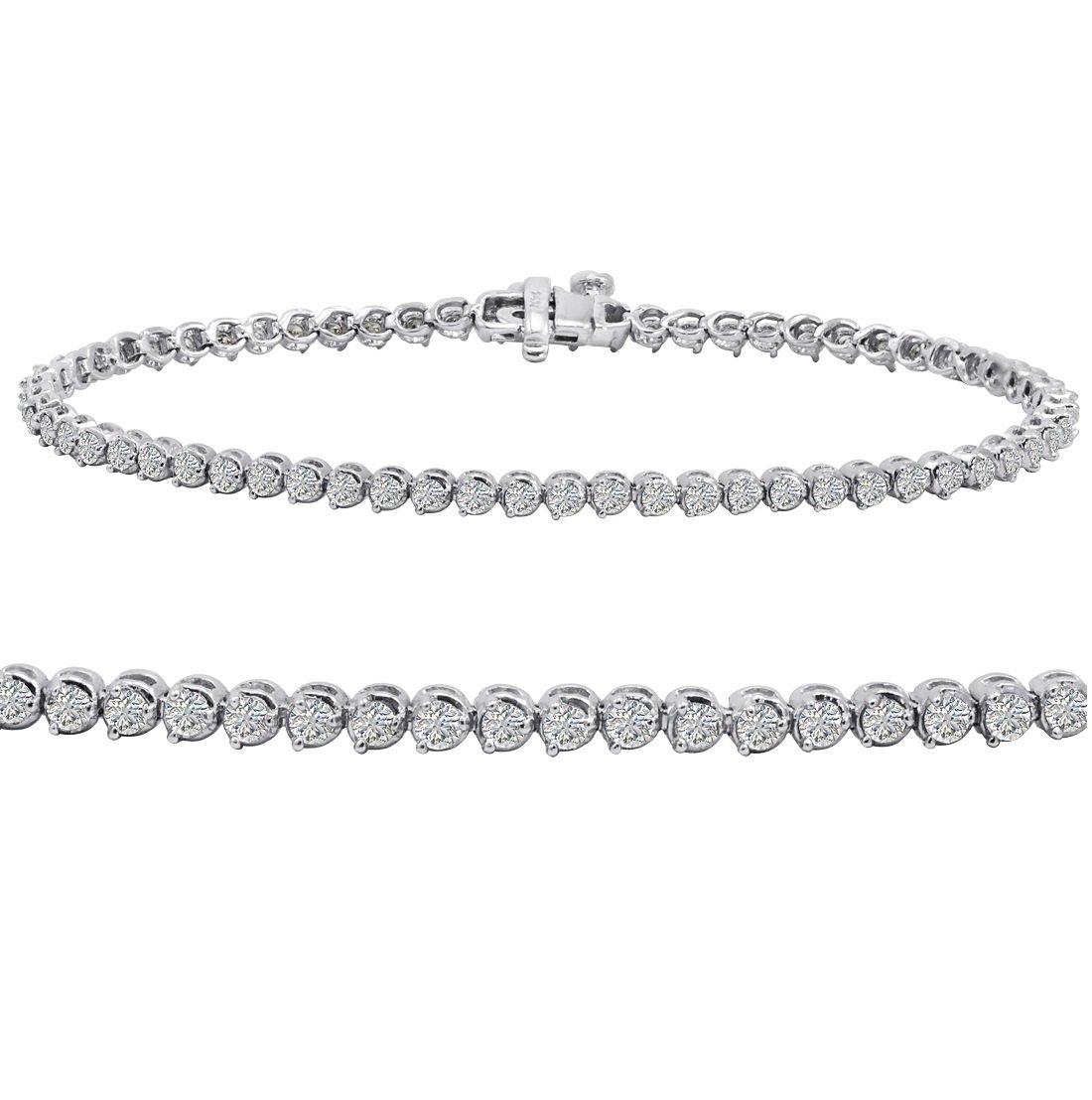 AGS Certified 2 ct tw Diamond Tennis Bracelet in 14K White Gold 7 inch