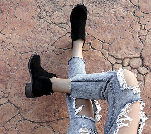 Posteriori E Cerniera Donne Tacco Di Stivali Sistema Stivali Inverno Delle Pattini Del Nudi nuovi Piatto Caricamenti Khskx Nel Brevi Donne Coreano Spessore Nero Delle Di wFTqxU6