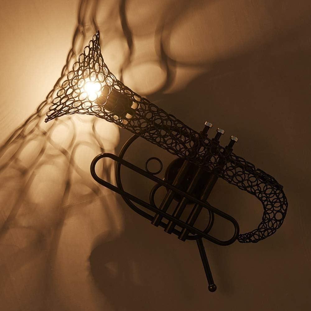 Lluminación de pared Negro saxofón pared linterna estadounidenses luces del aplique restaurante lámpara decorativa tradicional forjado nearthe de la puerta principal de hierro 52 * 35.2cm luz de la pa
