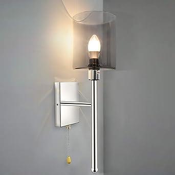 Aplique de pared LED ZMH con pantalla de vidrio de 1 llama con enchufe E14 iluminación de pared lámpara de salón iluminante incluido para sala de estar, dormitorio, escalera, pasillo: Amazon.es: Iluminación
