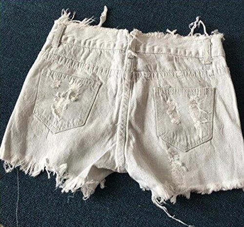 Roca Blanco Pantalones Pantalones Mezclilla Chica Cortos Vaqueros De del Z La Mujeres De Mendigo Pantalones De Agujeros Rasgados Cortos De Los Las QIYUN S6Bqw
