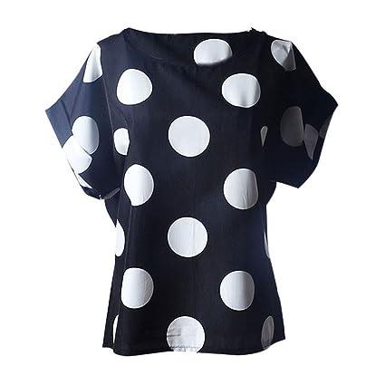 385cfd3417 LuckyGirls Camisetas Mujer Manga Corta Verano Lunares Remeras Blusas Camisas  (2XL, Negro)