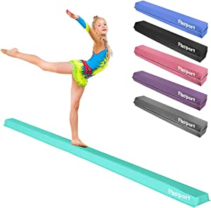 FBSPORT 8ft/10ft Balance Beam: Folding Floor Gymnastics Equipment PU Leather for Kids Adults,Non Slip Rubber Base, Gymnastics Beam for Training, Practice,Professional Home Training