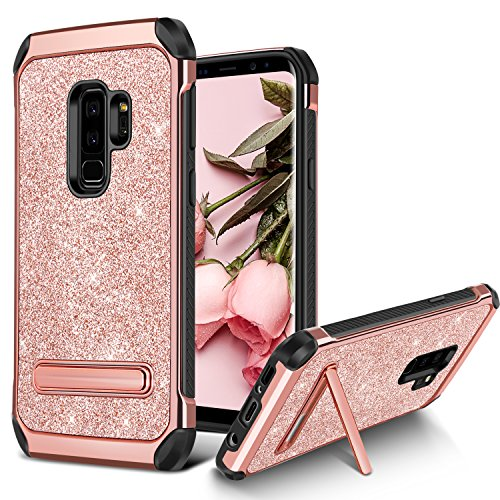 BENTOBEN Case for Galaxy S9 Plus 2 in 1 Kickstand Design Shockproof Protective Glitter Shiny Girl Women Faux Leather Hard Case Full Body Soft Bumper Phone Case for Samsung Galaxy S9 Plus, Rose Gold