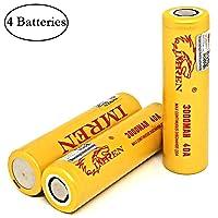 M&A BD 4 Pack with Battery Organizers IMREN 3000mAh 20A Flat Top Battery