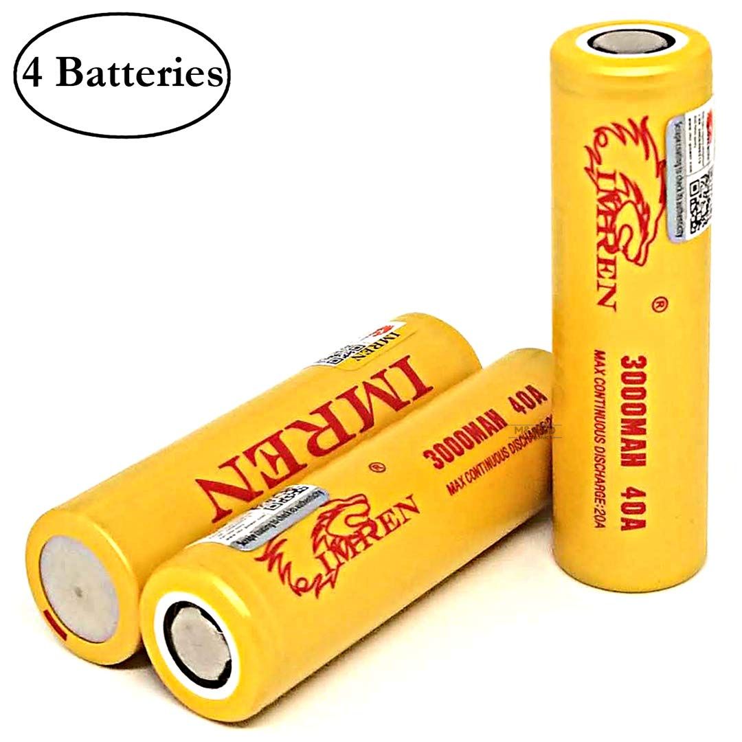 M&A BD 4 Pack with Battery Organizers IMREN 3000mAh 20A Flat Top Battery, 3.7V Rechargeable High Drain for Electric Tools, Toys, LED Flashlights, Torch, and Etc by M&A BD Electronics