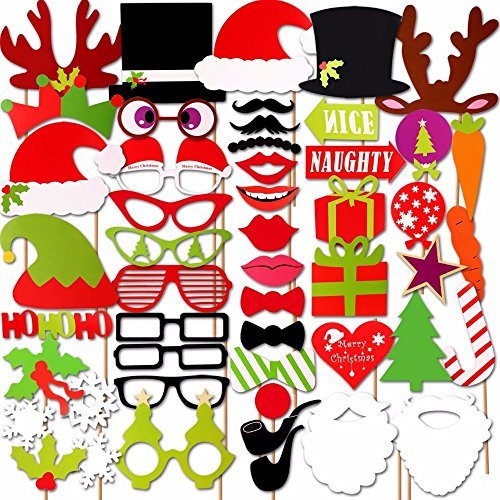 Christmas Photo Booth Props Kit(47Pcs), DIY Christmas Photo Booth with stick Funny Xmas Selfie Props Accessories for Adults Kids for Christmas Theme Party Favors Decorations Decor Supplies