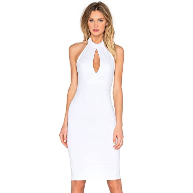 0bd17d92244 Donna Mizani Womens Keyhole Mock Neck Midi Dress White Extra Small ...