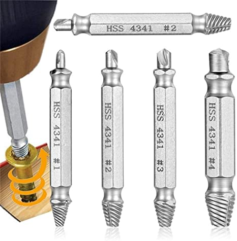 4pcs Broken Damaged Bolt Remover Hand Tools Screw Extractor Drill Bits Guide Set