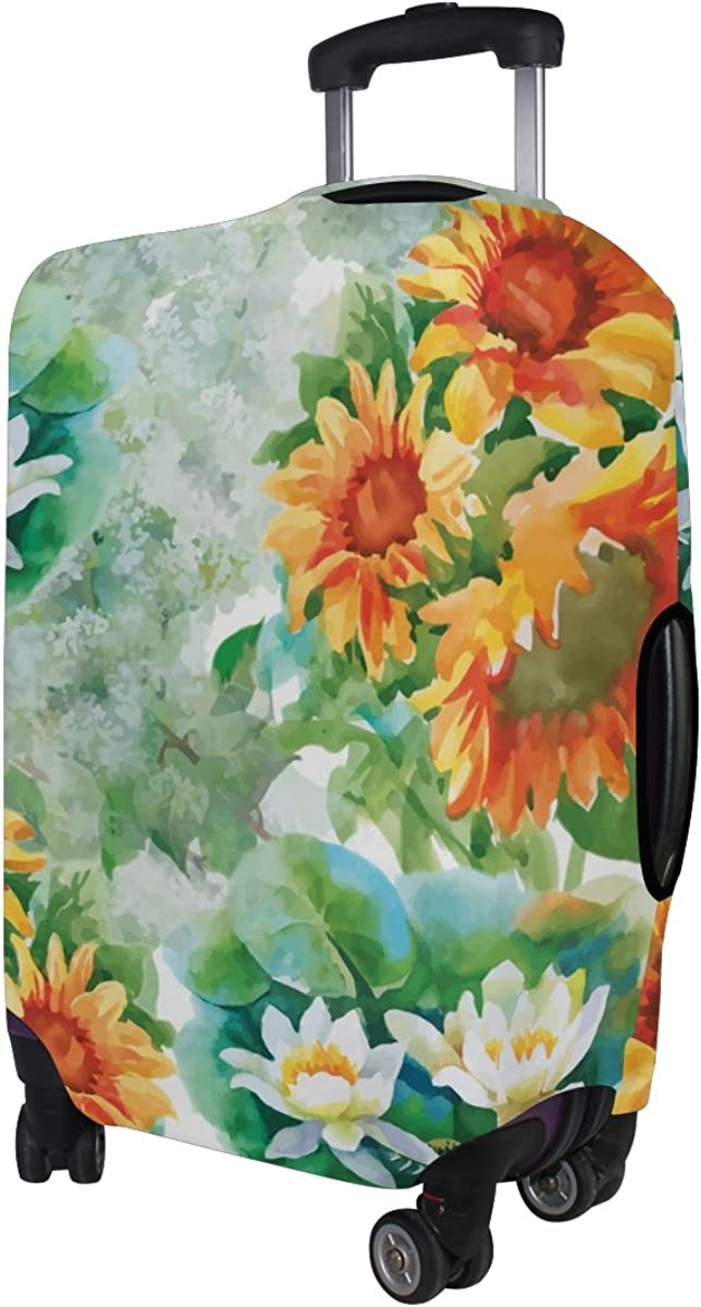 LAVOVO Yellow Sunflowers Watercolor Luggage Cover Suitcase Protector Carry On Covers