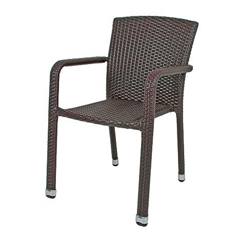 Sedie Intrecciate In Plastica.Varilando Sedia Impilabile Bill In Alluminio E Plastica Intrecciata