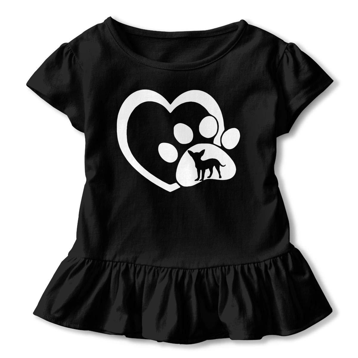 Dog Heartbeat Chihuahua Childrens Girls Short Sleeve Ruffles Shirt T-Shirt for 2-6 Toddlers