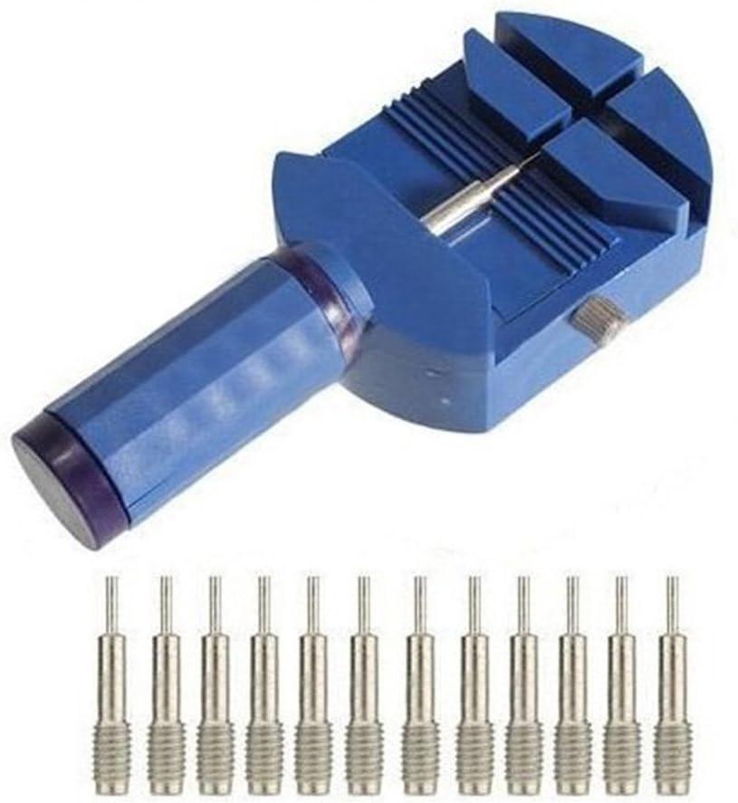 NICERIO Outil de r/éparation de dissolvant de goupille de Liaison de Bracelet /à Bande de Montre r/églable avec 12 Broches rempla/çables Bleu