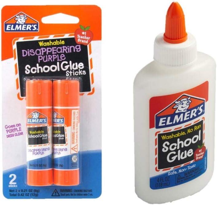 Elmer's bundle Washable Liquid School Glue, White, Dries Clear, 4 fl oz Plus Disappearing Purple Elmer's School Glue Stick, 7g, 2pk: Office Products