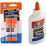 Elmer's bundle Washable Liquid School Glue, White, Dries Clear, 4 fl oz Plus Disappearing Purple Elmer's School Glue…