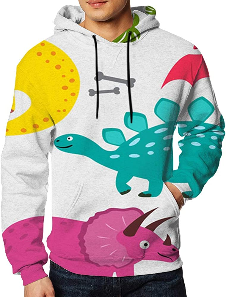 Collection Cute Dinosaurs Isolated Dinosaur 3D Print Hoodie Long Sleeve Pullover Sweatshirts for Men