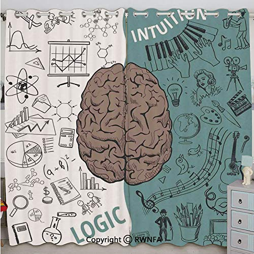 (Justin Harve window Brain Image with Left and Right Side Music Logic Art Side Science Print Bedroom Living Room Curtain Set of 2 Panels(100