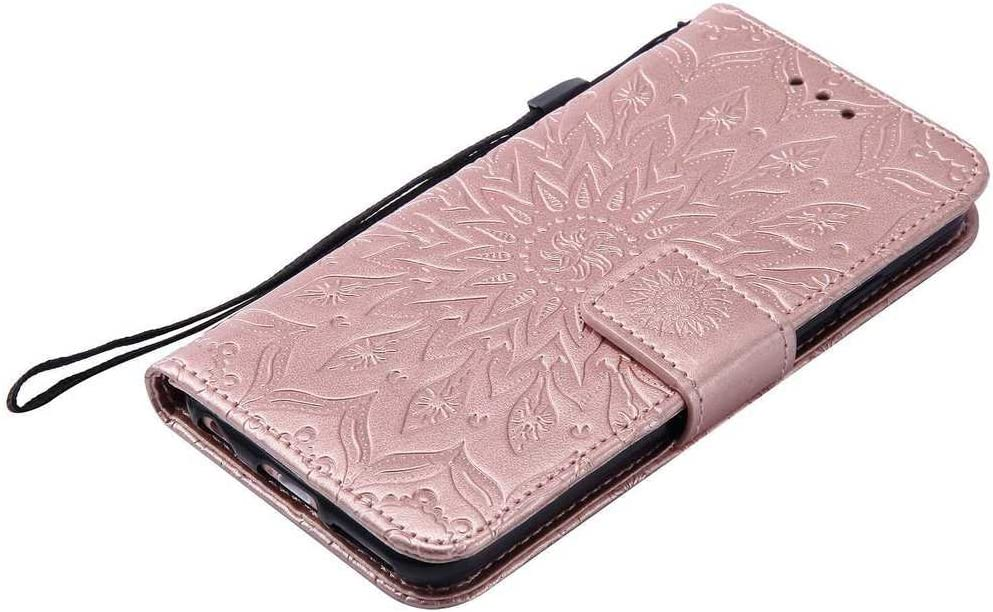 KKEIKO Cover iPhone 6s Oro Rosa Fiore del Sole Design Antiurto Cover per iPhone 6 // iPhone 6s iPhone 6 // iPhone 6s Magnetico Portafoglio Custodia in PU Pelle