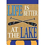 Life is Better at the Lake Canoe 18 x 13 Rectangular Burlap Double Applique Small Garden Flag For Sale