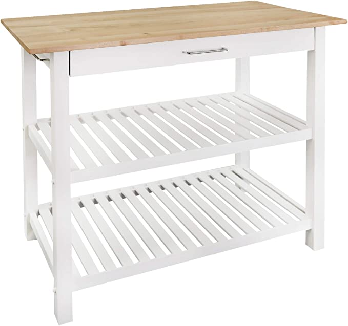 """Amazon.com: Casual Home Kitchen Island with Solid American Hardwood Top, Natural/White, 40"""" W (373-91): Furniture & Decor"""